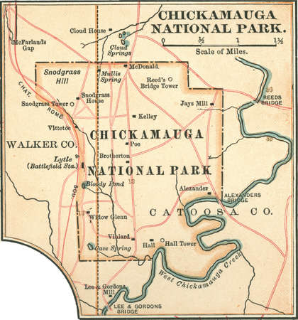 Map of Chickamauga National Park, Tennessee, circa 1902, from the 10th edition of Encyclopaedia Britannica.