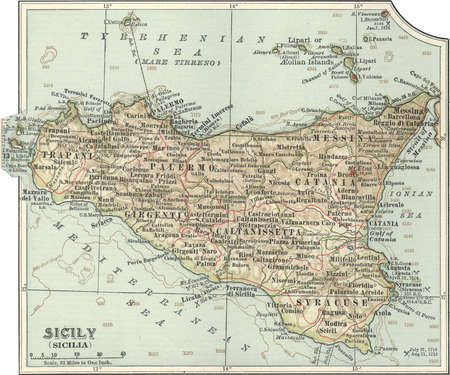Map of Sicily, Italy, circa 1902, from the 10th edition of Encyclopaedia Britannica.