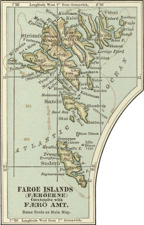Map of Faroe Island, circa 1902, from the 10th edition of Encyclopaedia Britannica.