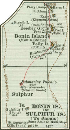 Inset map of Bonin Islands and Sulphur Islands, circa 1902, from the 10th edition of Encyclopaedia Britannica.