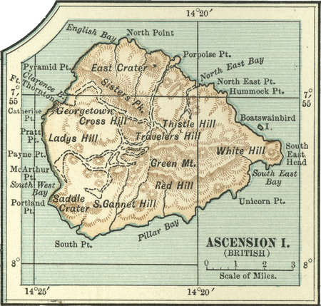 Map of an Ascension Island (British) highlighting hills and mountains, circa 1902, from the 10th edition of Encyclopaedia Britannica.