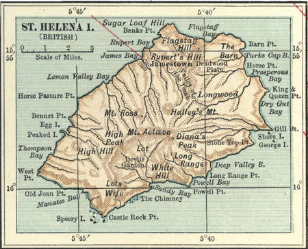 Map of Saint Helena Island, circa 1902, from the 10th edition of Encyclopaedia Britannica.