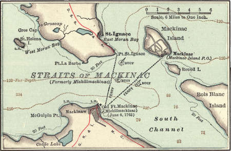 Map of Mackinac Island and the Straits of Mackinac, Michigan, circa 1902, from the 10th edition of Encyclopaedia Britannica.