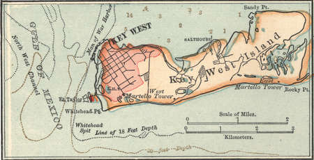 Map of Key West Island, Florida, circa 1902, from the 10th edition of Encyclopaedia Britannica.