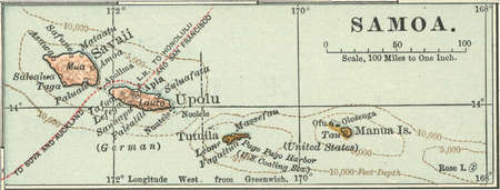 Map of Samoa, Oceania, circa 1902, from the 10th edition of Encyclopaedia Britannica.
