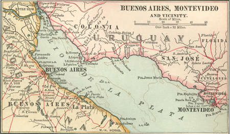 Inset map of Buenos Aires (Argentina) and Montevideo (Uruguay), circa 1902, from the 10th edition of Encyclopaedia Britannica.