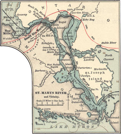 Map of St. Marys River and Sault Ste. Marie, Michigan, circa 1902, from the 10th edition of Encyclopaedia Britannica.