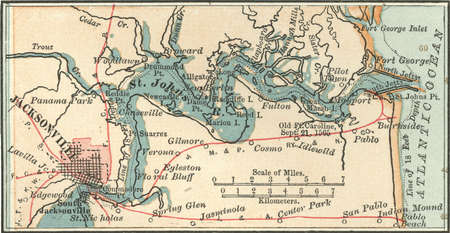 Map of Jacksonville and Saint Johns River, Florida, circa 1902, from the 10th edition of Encyclopaedia Britannica.