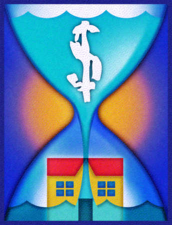 Dollar sign in hourglass filtering through house