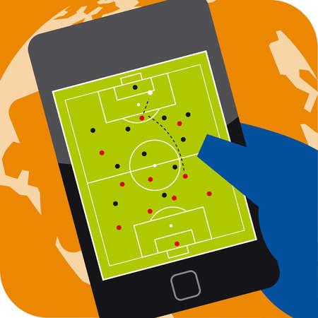 Soccer field on digital tablet