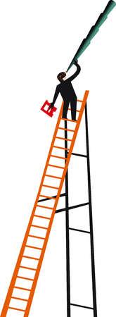 Man on ladder looking up through telescope