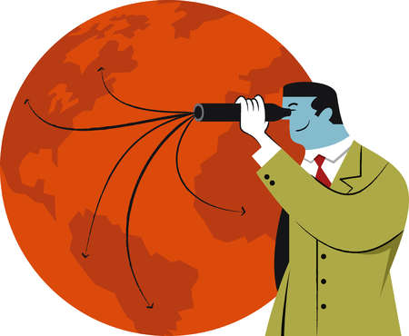 Arrows diverging on globe from businessman's telescope