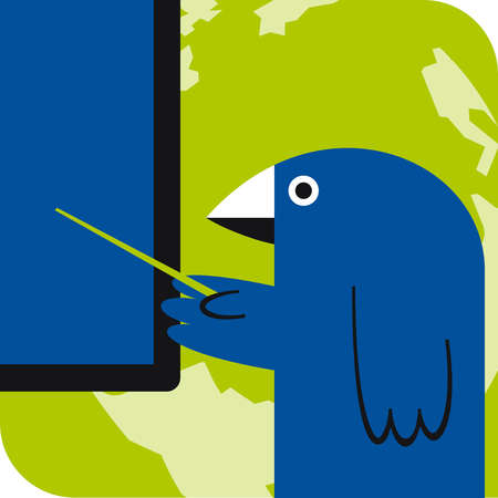 Bird pointing at computer monitor over globe with stick