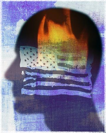 Man Behind Burning United State's Flag