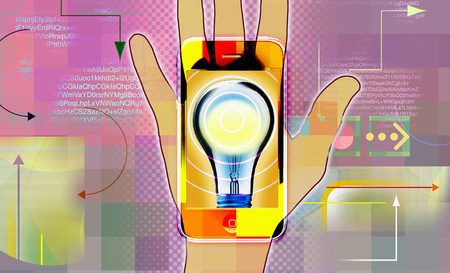 Hand Holding Smart Phone With Light Bulb Icon
