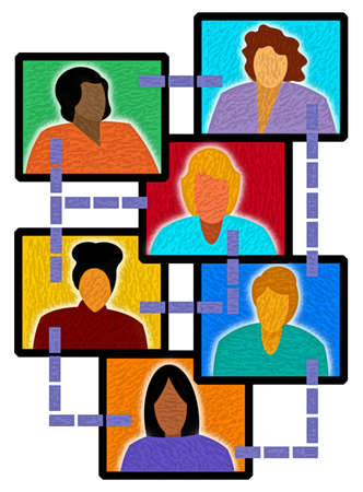 Female faces networking on computer screens