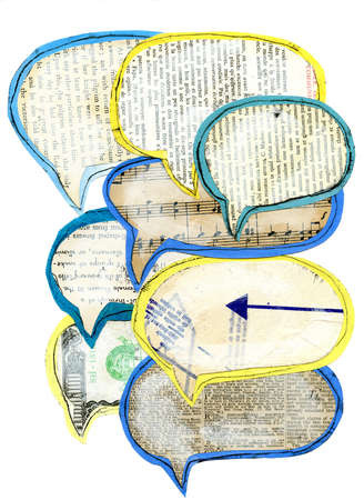 Newsprint and music notes in speech bubbles