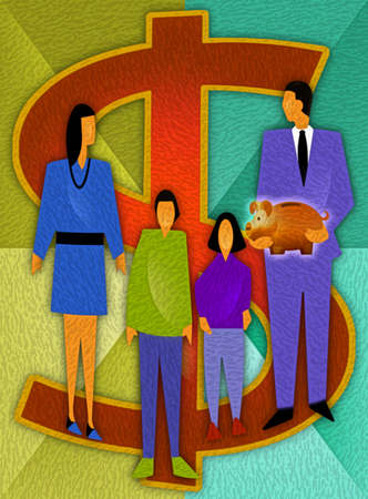 Family holding piggy bank with dollar sign in background