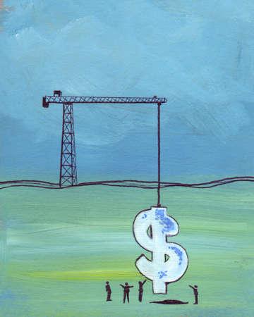 Crane raising dollar sign from hole