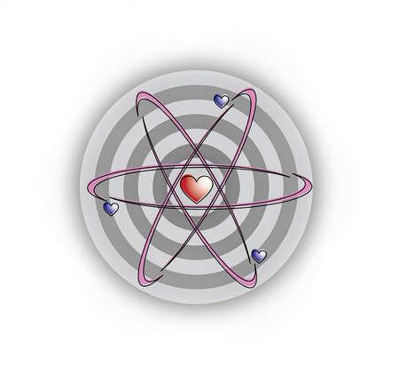 Hearts and atom around bull's-eye