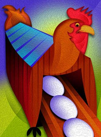 Eggs on conveyor belt moving through barn shaped as chicken