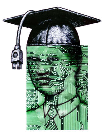 Man wearing mortarboard with circuit board covering face