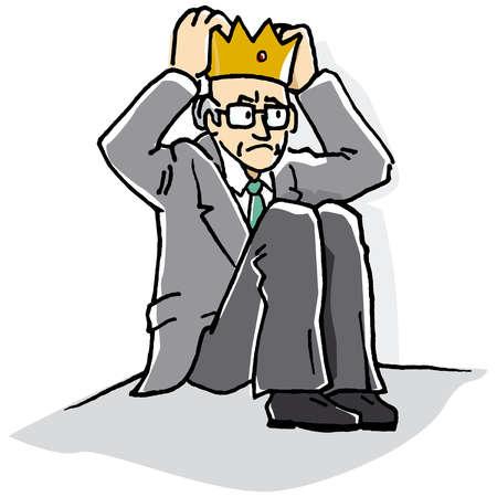 Businessman sitting in corner wearing crown