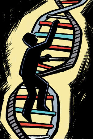 Man climbing double helix