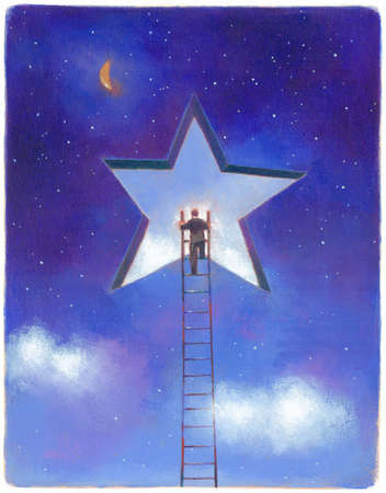 Businessman climbing ladder toward star opening in night sky