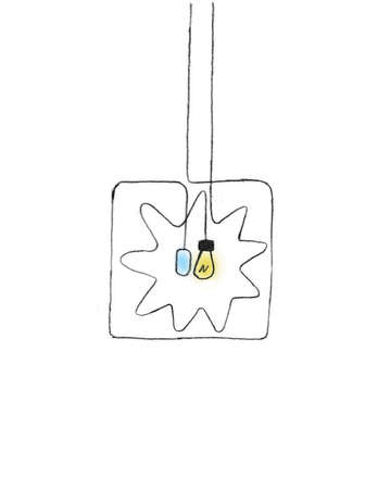 Light bulb and computer mouse hanging from cords