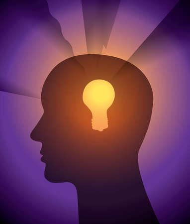 Glowing light bulb in man's head