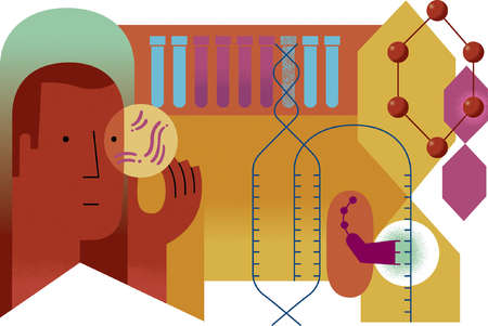 Man and genetic research images