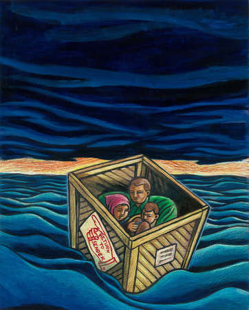 Immigrants in box floating on stormy ocean