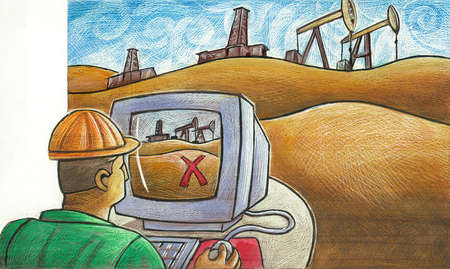 Worker planning next oil drilling location on computer