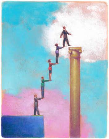 Business people lifting businessman onto pedestal