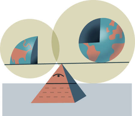 Sections of globe balancing on Eye of Providence seesaw