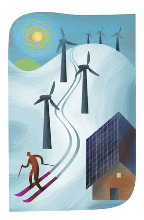 Man skiing down slope with wind turbines