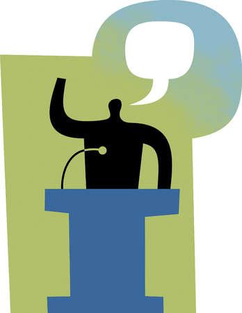 Speech bubble over man at podium