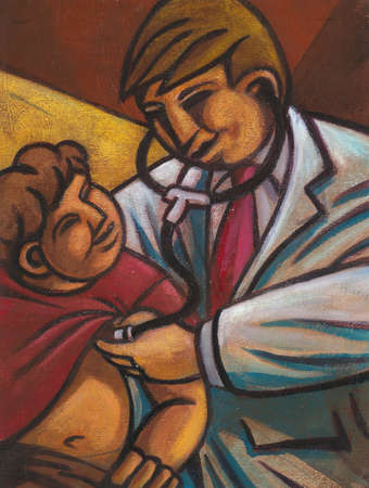 Pediatrician with stethoscope examining boy