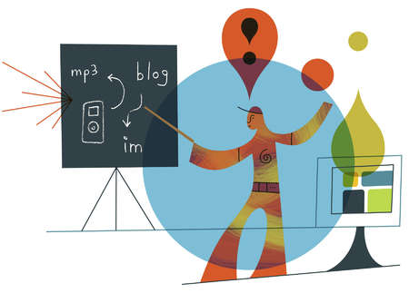 Exclamation point over man at blackboard with technology images