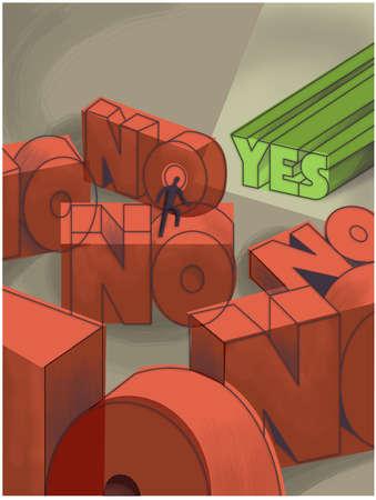 Man climbing over No text toward Yes text