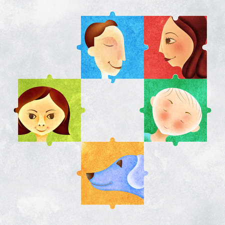 Jigsaw pieces of family and dog