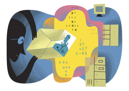 Man peering at doctor over binary code