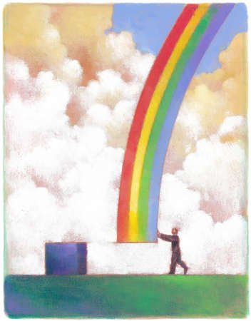 Businessman pushing rainbow toward cube