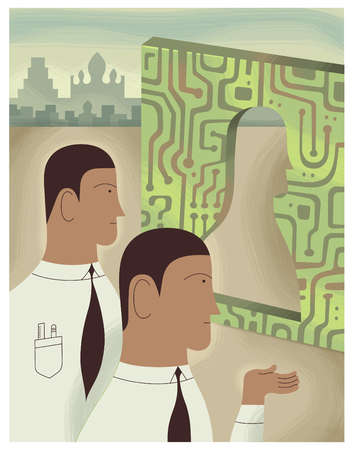 Businessmen examining profile cut out in circuit board