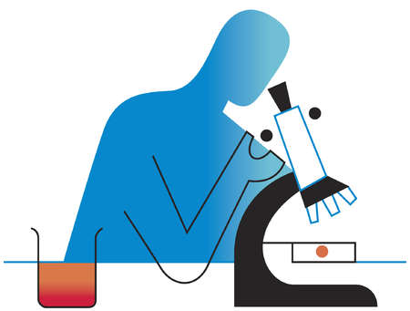Scientist looking into microscope