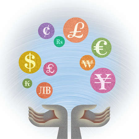 Currency symbols in bubbles over hands