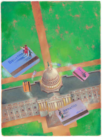 People floating on Benefits cards over U.S. Capitol