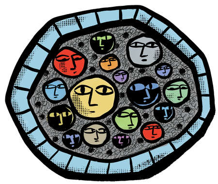 Faces in circle