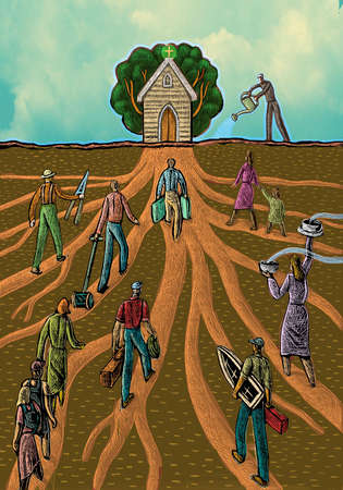 Workers walking on roots toward growing house